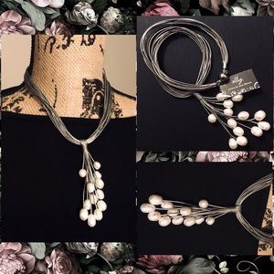 Multi Leather Stand Pearl Cluster Lariat Necklace
